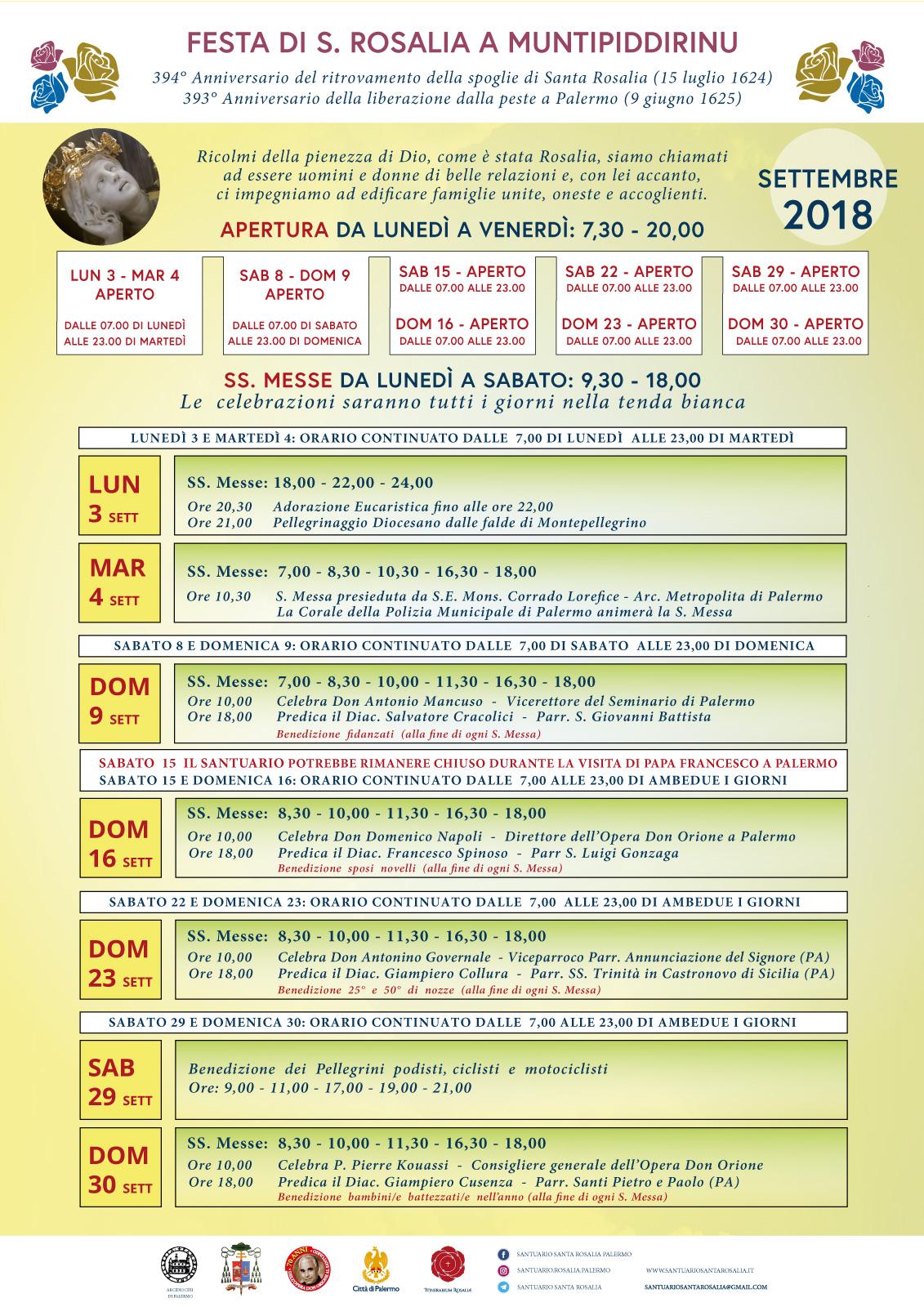Programma Festa Rosalia 2018 26 AGOSTO
